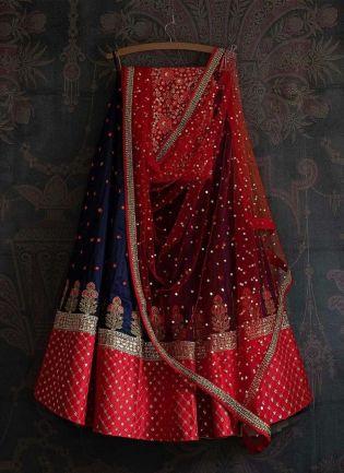 Navy Blue Color Resham And Sequins Work Silk Fabric Lehenga Choli