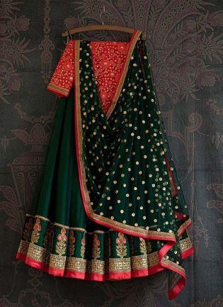 Exquisite Green Color Satin Fabric Heavy Work Lehenga Choli With Dupatta