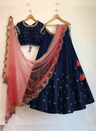 Blue Color embroidered flared wedding wear lehenga choli