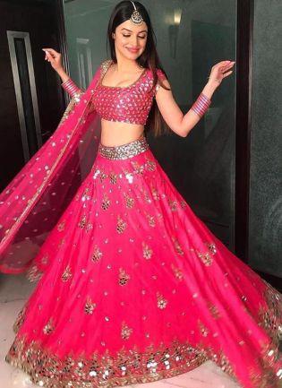 Shining Pink Gotta Work Silk Flared Lehenga Choli Set