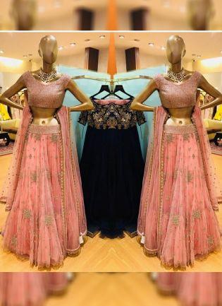 Pink Color Party Wear Net Base Designer Sequins Work Lehenga Choli