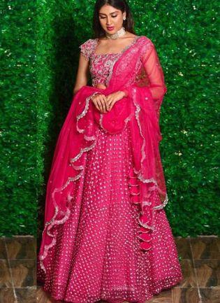 Rani Pink Zari And Silk Flared Lehenga Choli