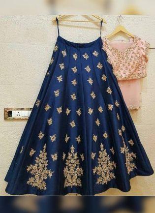 Sensational Prussian Blue Color Embroidered Flared Lehenga Choli
