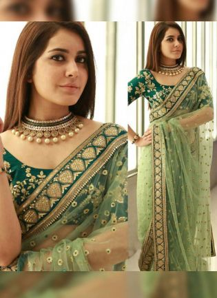 Stunning Pale Green Soft Net Embroidered Sequin Wedding Special Saree