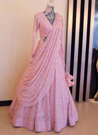 Baby Pink Mirrorwork Resham Tafetta Silk Panelled Lehenga Choli