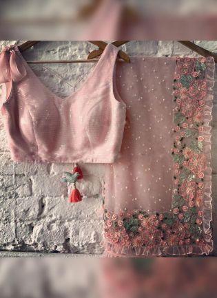 Fantastic Peach Pink Soft Net Base Resham And Sequin Work Saree