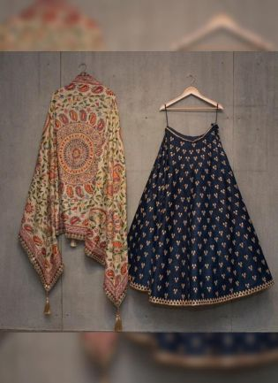 Stunning Navy Blue Taigar Silk Lehenga Choli with Fine Embroidery