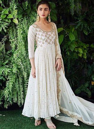 Gorgeous Duck White Georgette Designer Dori Work Anarkali Style Suit