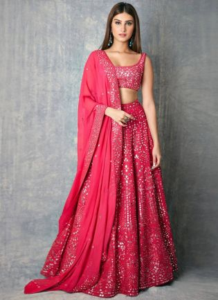 Charming Pink Zari Work Georgette Lehenga Choli Set