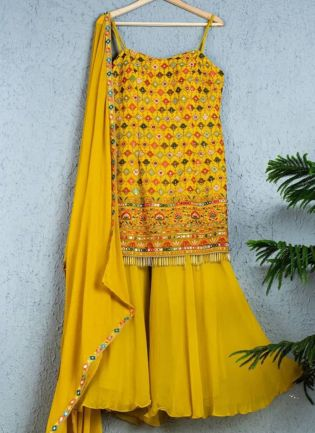 Sunny Yellow Color Raw Silk Base Heavy Embroidery Work Sharara Suit