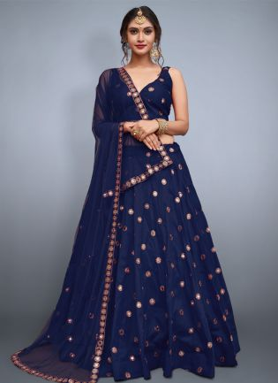 Delicate Navy Blue Heavily Embellished Mirror Work Designer Lehenga Choli