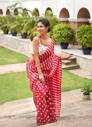 Alluring Red Color Digital Print Saree