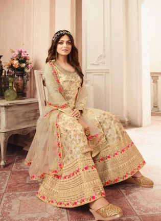 Admirable Beige Silk Base Embroidered Salwar Suit