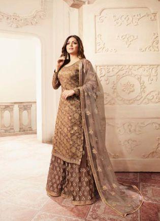 Sparkling Light Brown Silk Base Embroidered Salwar Suit