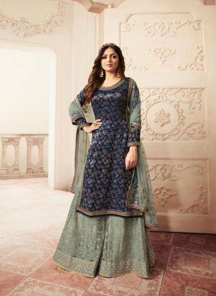 Outstanding Navy Blue Jacquard Silk Base Embroidered Salwar Suit