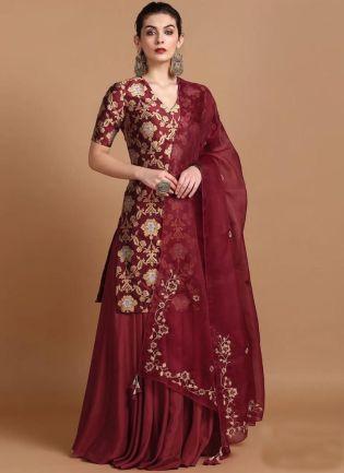 Wonderful Maroon Colored Taffeta Silk Base Zari Work palazzo suit