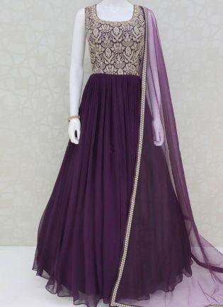Dazzling Purple Georgette Anarkali Suit