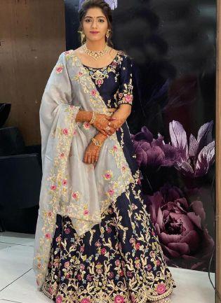 Navy Blue Color Rayon Cotton Base With Heavy Embroidery Base Designer Lehenga Choli