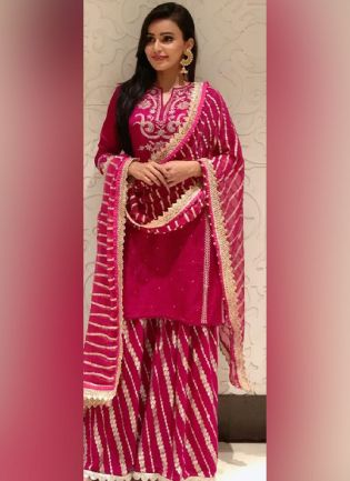 Magnificent Dark Pink Color Georgette Base Ceremonial Wear With Embroidered Moti Work Sharara Salwar Suit