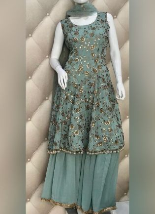 Exquisite Teal Green Color Georgette Base Wedding Wear Sharara Suit