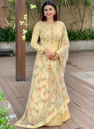 Considerate Cream Color Salwar Kameez With Embroidery Work