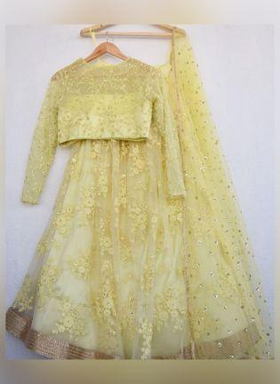 Neon Yellow Color Soft Net Base Heavy Work Occasion Wear Flared Lehenga Choli