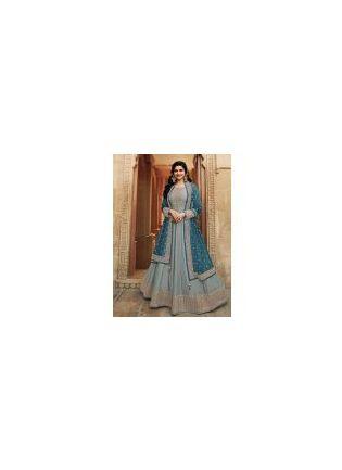 Peacock Blue Color With Dola Silk Base Anarkali Salwar Kameez