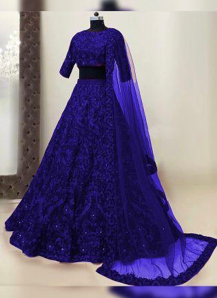 Splendid Persian Blue Resham Work Detailed Lehenga Choli