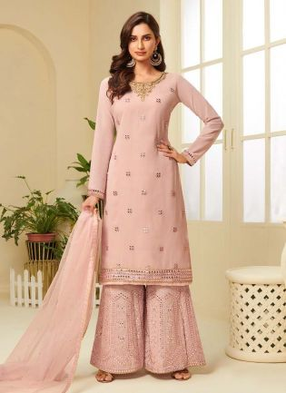 Delightful Pink Color With Embroidered Palazzo Suit
