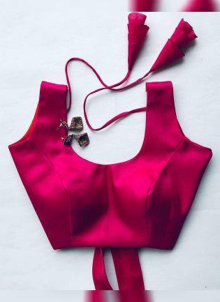 Rani Pink Color Designer Silk Base Blouse