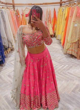 Sophisticated pink color wedding wear lehenga choli