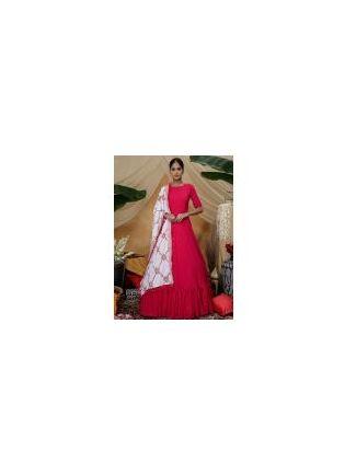 Pink Resham Sequins Work Silk Pallazo Salwar Suit