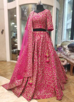 Pink Silk Lace and Dori Lehenga Choli
