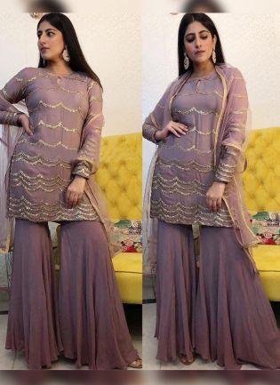 Purple Sequin Velvet Soft Net Sharara Salwar Suit