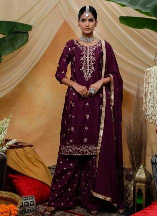 Purple Zari Lacework Sequins Silk Palazzo Salwar Suit