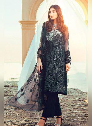 Splendid Black Color With Soft Net Base Salwar Kameez