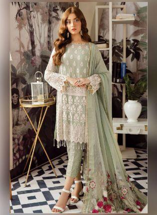 Magnificent Green Color Georgette Base Pakistani Style Suit