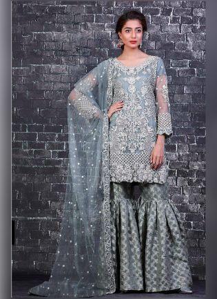 Kind Blue Color With Butterfly Net Base salwar Kameez Suit