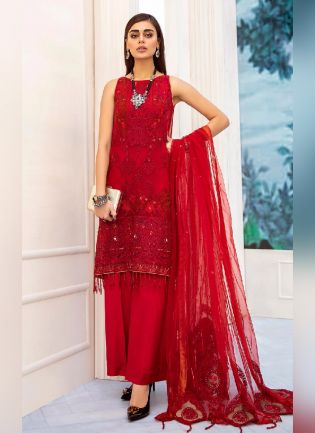 Glamorous Red Color With Butterfly Net Base Pant Style Suit