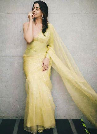 Festive Look Yellow Color Organza Saree with Silk Waving