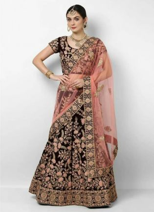 Dark Maroon Velvet Embroidered Wedding Wear Lehenga Choli