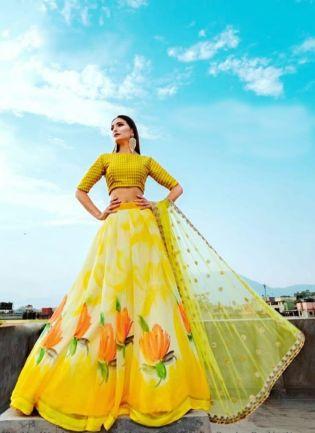 Lemon Yellow Color Party Wear Designer Digital Printed Lehenga Choli