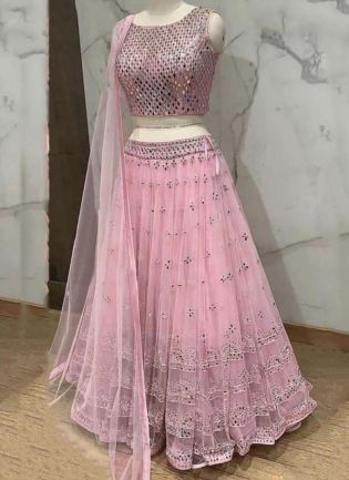 Pink Color Soft Net Base Embroidery And Sequins Work Flared Lehenga Choli