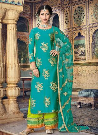 Exquisite Turquoise Color With Pakistani Palazzo Suit