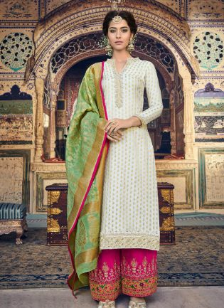 Striking Off-White Color Palazzo Suit With Georgette Base