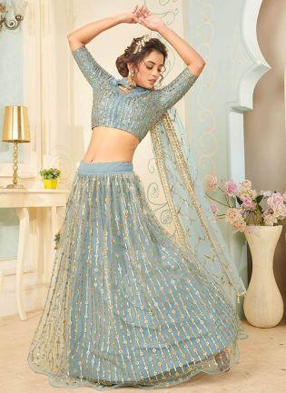 Magnificent Sky Blue Color With Soft Net Base Lehenga Choli