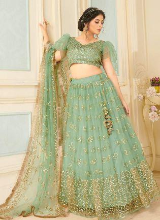 Stunning Green Color With Soft Net Base Lehenga Choli