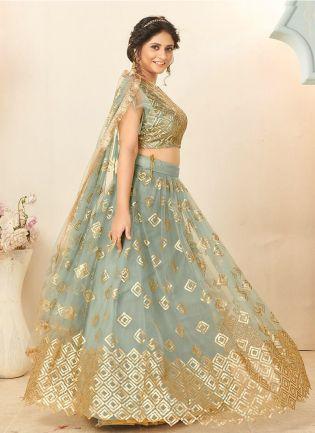 Beautiful Pastel Blue Color Soft Net Base Lehenga Choli