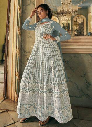 Decent Grey Color Anarkali Suit With Lucknowi Floor Length Anarkali