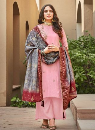 Amusing Baby Pink Color Silk Base Palazzo Suit